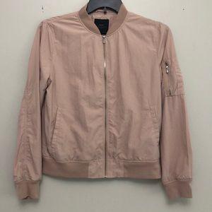 Zara Basic blush pink bomber style jacket